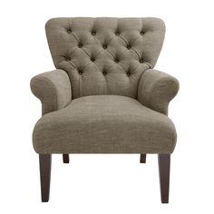"Madison Park Analia Button Tufted Classic Arm Chair (31.25W x 32.5D x 38.375H""-Mushroom), Brown"
