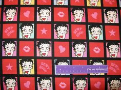 "BETTY BOOP Cartoon Lips Heart Star Comic Block Cotton Fabric REMNANT 12"" x 43"" by DaMommasTextiles on Etsy"