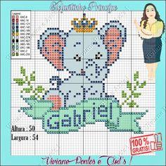 Baby Cross Stitch Patterns, Cross Stitch Baby, Disney Elephant, English Alphabet Letters, Elephant Cross Stitch, Perler Patterns, Baby Kind, Plastic Canvas Patterns, Baby Decor