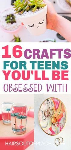 15 Fun Crafts for Teens that Will Bring Out Thier Inner Artist 16 DIY Crafts for Teen Girls that are also great crafts to make and sell or that make easy DIY gifts. Teen Girl Crafts, Diy Crafts For Teen Girls, Crafts For Teens To Make, Diy Projects For Teens, Diy For Teens, Gifts For Teens, Diy Crafts To Sell, Kids Diy, Kids Crafts