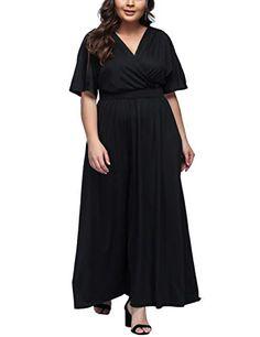 Vestiti da donna · FeelinGirl - Vestito taglie forti con profondo scollo V  maniche corte vita alta maxi dress per 9e85ee2692e