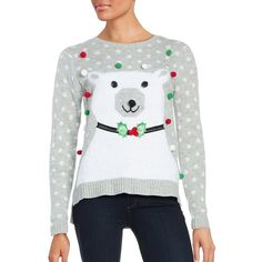 By Design  Ugly Christmas Sweater ($29) ❤ liked on Polyvore featuring tops, sweaters, polar bear, long sleeve pullover sweater, evening sweaters, crew sweater, crew neck pullover and sweater pullover