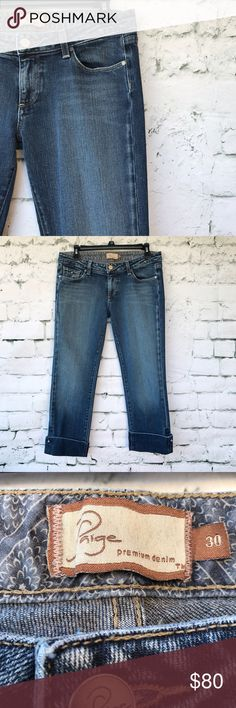 🌼🌼 Paige Premium Denim Curson Capri Jeans Paige Premium Denim Curson Capri Jeans.  Please see pictures for material and measurements.  Small wear mark on right cuff of capri. PAIGE Jeans Ankle & Cropped