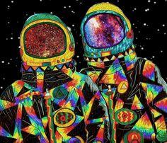 Multicolored Astronauts, gif. Illustration, collage art.