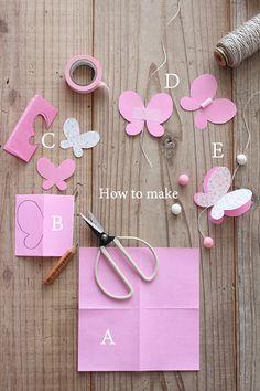 Decoração de festa fácil de borboletas de papel passo a passo