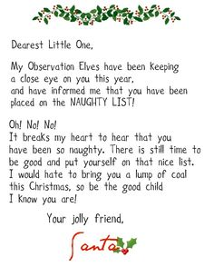 Fee Official Letter From Santa  Holidays And Events