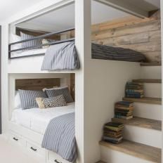 Convenient Queen-Sized Bunk Beds With Shiplap Paneling