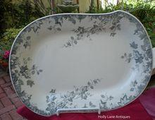 Antique Aesthetic Transfer Ware Platter Blue Gray Hop Pattern
