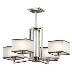 Kichler Kailey Brushed Nickel Modern/Contemporary Chandelier at Lowe's. Square shapes are often boxed into modern decorating schemes - but not with this 4 light chandelier from the Kailey collection. Brushed Nickel Chandelier, Linear Chandelier, Contemporary Chandelier, Chandelier Shades, Chandelier Lighting, Bathroom Chandelier, Transitional Chandeliers, Contemporary Light Fixtures, Hanging Chandelier