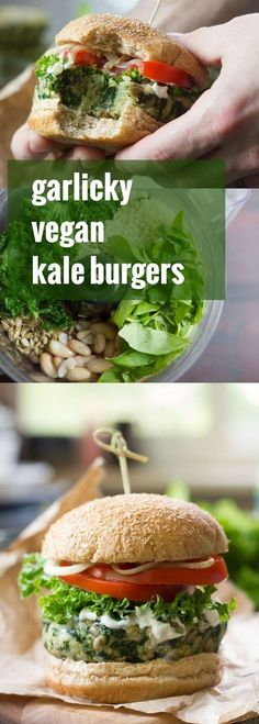 These satisfying vegan kale burgers are made with a flavorful mixture of white beans, crunchy sunflower seeds and lots of garlic.