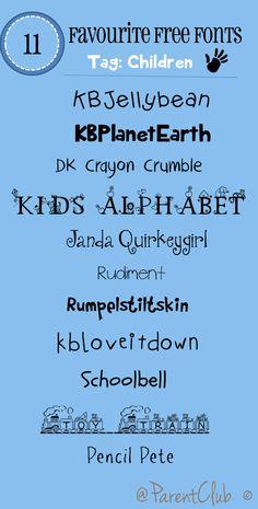 Free Fonts children category #free #fonts #freefonts #blogging #scrapbooking
