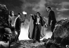 See Van Helsing v Universal Monsters on our superhero and sci-fi art and images gallery. Classic Movie Posters, Classic Horror Movies, Ms Marvel, Hollywood Monsters, Tv Theme Songs, Horror Costume, Famous Monsters, Bride Of Frankenstein, Hooray For Hollywood