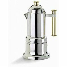 Vev Vigano 8010 Kontessa Oro Coffee Pot Product Features Just sitting on your shelf, this elegant Espresso machine speaksvolumes about your taste in coffee.The gold plated accents fit elegantly against the inox stainless steel.The Kontessa will . Machine A Cafe Expresso, Espresso Machine Reviews, Coffee Maker Reviews, Espresso Coffee Machine, Espresso Maker, Espresso Cups, K Cup Coffee Maker, Coffee Shop, Papillote Silicone