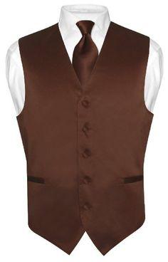 Men's Dress Vest NeckTie CHOCOLATE BROWN Neck Tie Set for Suit or Tuxedo:Amazon:Clothing
