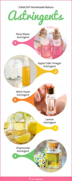 5 Best DIY Homemade Natural Astringents Here are some easy to prepare, natural and effective astringents that work well in cleansing your skin, refreshed and make it free from infections. #Astringents #DIYRemedies #Skin