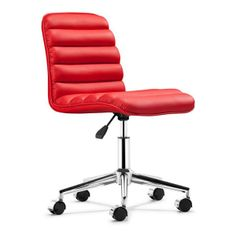 Zuo Modern Faux Leather Swivel Office Chair In Black - The Faux Leather Upholstered Office Chair by Zuo Modern will surely keep you comfy when you're working. Swivel around in comfort with this creative style chair. Red Office Chair, Swivel Office Chair, Office Chairs, Desk Chairs, Furniture Chairs, Armless Chair, Dining Chairs, Armchair, Lounge Chairs