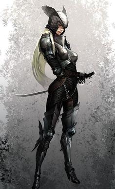 Female wing knight@一团乱麻采集到人设(1083图)_花瓣插画/漫画