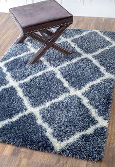 Moroccan Trellis Shag Grey Rug | Contemporary Rugs