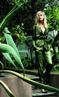 Metallic draped greenery....Anja Rubik by Marcin Tyszka for Viva! Nov. 2014 | Fashion photography | Editorial