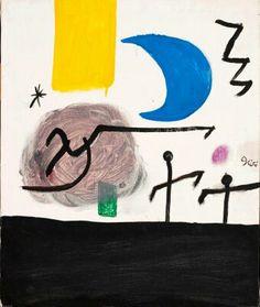 Personajes y pájaros en un paisaje nocturno, Joan Miró. 1978.