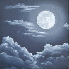 "Moon and Clouds Painting, Night Sky, Full Moon Original Art, Moon and Clouds, Night Skyscape, Dark Sky Art, Black, Grey, Gray 10"" X 10"""