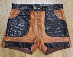 Vintage 60s 70s ROCKER Biker LEATHER Distressed Two Color SHORTS