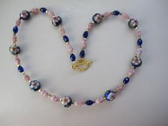 Royal Blue and Pink - Cloisonné Beads with Picasso Pink Opall Terra Cotta Czech Glass Flower Beads