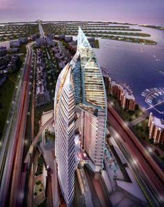 Trump Tower, Dubai, architechture, city view, water, building, photograph, photo