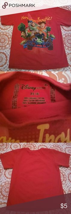 🌟 Toy Story Tee Shirt Size 4 🌟 Toy Story Tee Shirt Size 4 red Disney Store. Good condition!  (ALL of my closet items were purchased new for my family's personal use) Disney Shirts & Tops Tees - Short Sleeve