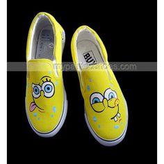 spongebob designed Shoes Slip-on shoes,Low-top Painted Canvas Shoes