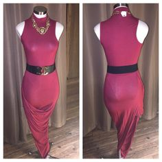 New Sexy burgundy asymmetrical turtle neck dress Sexy asymmetrical turtle neck dress. I have small-large available. Dresses Asymmetrical
