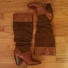 Zodiac Brown Leather and Suede Heeled Boots Gently used condition.  Minor scuffing and scratches as shown in pictures. Zodiac Shoes Heeled Boots