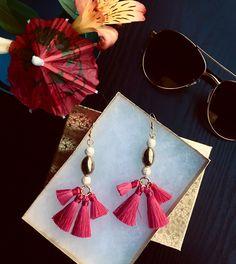 Hot pink boho tribal tassel earrings