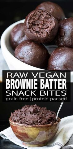 Raw brownie bites made in minutes, packed with protein and a perfect after school snack! The nut-free option makes this the ultimate allergy friendly treat. via snacks Raw Vegan Protein Packed Brownie Batter Bites Desserts Végétaliens, Raw Vegan Desserts, Raw Vegan Recipes, Vegan Dessert Recipes, Vegan Treats, Whole Food Recipes, Vegan Raw, Snack Recipes, Paleo
