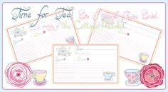 Time For Tea Printable Recipe Cards especially for you! - The Cottage Market.  Love these!  Would be so cute to  give a nice food gift and attach the recipe.