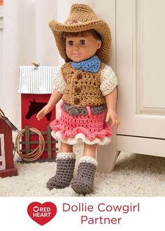 "Dollie Cowgirl Partner Free Crochet Pattern in Red Heart Yarns -- Young girls who love horses or dream of being a country western star will enjoy this outfit for their 18"" doll. Crochet hat, boots, vest, skirt and kerchief."