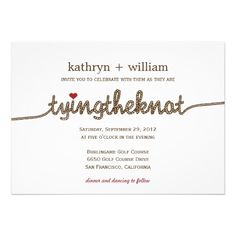 Tying the Knot Modern Wedding Invitation           4.8 (9381 reviews) $1.90 per card