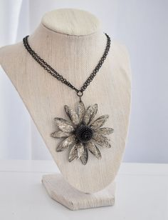 Bold Flower Pendant Necklace by AprilGetsCrafty on Etsy, $24.00