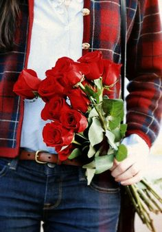 Tartan and  red roses.