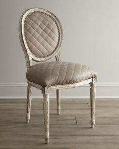 """""""Limestone"""" Side Chair by Old Hickory Tannery at Horchow.  1159.00 retail.  Love the quilting.  Brings this typically more formal chair down a notch or two."""