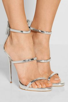 Heel measures approximately 120mm/ 5 inches Silver leather Zip fastening along back Made in Italy