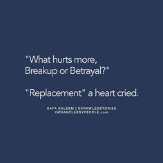 """A replacement"" Shared by @safakaleem If you like the story, appreciate the writer by commenting. ⠀⠀⠀ [Original] What hurts more breakup or betrayal? She replied with tears in her eyes ""Replacement""."