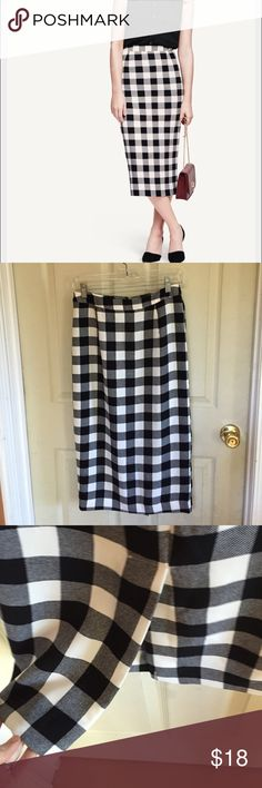 """Checkered Gingham Pencil Skirt NWOT and only tried on. From Target's WhoWhatWear line. Polyester with back slit and back zip. Waist is about 14.25"""" flat; length is about 30"""". who what wear Skirts Pencil"""