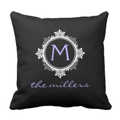 Lavender Monogram Snowflakes - Custom Chic Pillow  It's beginning to look a lot like Christmas... So why not start decorating? Start out with this simple and sweet idea.  This throw pillow is full of festive cheer, with a style that is both elegant and sharp. A white snowflake wreath frames your custom soft lavender purple and white monogram, and beneath in a beautiful handwritten-style font you can add your name. All of this is put to good effect against a high-contrast black background.