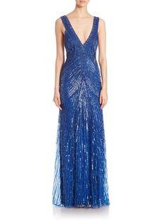 MONIQUE LHUILLIER Embellished V-Neck Gown. #moniquelhuillier #cloth #gown