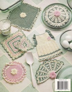 Heirloom Potholders Crochet Patterns by PaperButtercup on Etsy