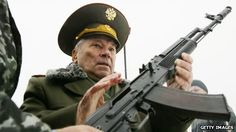 "Mikhail Kalashnikov, creator of the AK47 ""I keep having the same unsolved question: if my rifle claimed people's lives, then can it be that I... a Christian and an Orthodox believer, was to blame for their deaths?"" ""The longer I live, the more this question drills itself into my brain and the more I wonder why the Lord allowed man to have the devilish desires of envy, greed and aggression"".  May be a priest's words instead. The church forgives him, because he made it to protect Russia"