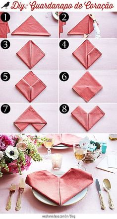 Valentine Envelope Napkin Fold Video Tutorial - Sand & SisalValentine Envelope Napkin Fold Video Tutorialday Ideas valentines napkins folded in heart shape valentines day decora .day Ideas valentines napkins folded in heart Valentines Bricolage, Be My Valentine, Valentine Day Gifts, Saint Valentin Diy, Napkin Folding, Wedding Napkins, Wedding Favors, Wedding Bands, Romantic Dinners