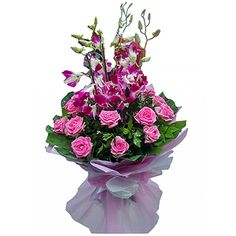 15 pink rose and 5 purpal orchid bunch with paper packing