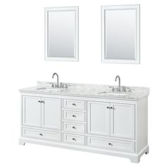 Wyndham Collection Deborah White Undermount Double Sink Bathroom Vanity with Natural Marble Top (Common: 80-in x 22-in; Actual: 79.75-in x 22-in)